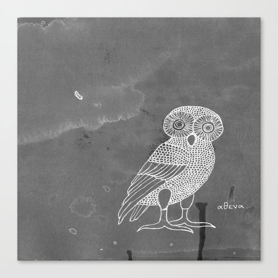 ATHENA'S OWL IN GREY BACKGROUND  Canvas Print