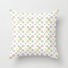 Pumpkin Pattern on White Background Throw Pillow