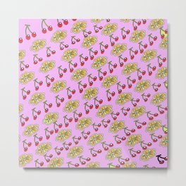Fruits and Flowers in Pink Metal Print