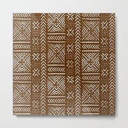 Line Mud Cloth // Brown Metal Print