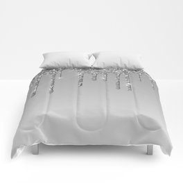 Gray & Silver Glitter Drips Comforters
