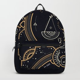 Libra Zodiac Golden White on Black Background Backpack