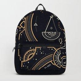 Libra Zodiac Golden White on Black Background Backpack