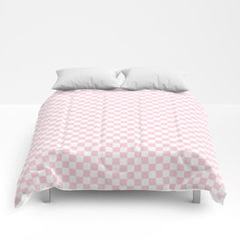 Light Soft Pastel Pink and White Checkerboard Comforters