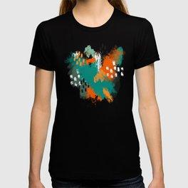 Grunge Brush Strokes in Orange + Teal T-shirt