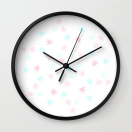 Teal and Pink Kush Leaf Wall Clock