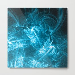 Ice-Blue Crystalized Clouds: Fractal Art of Fantasy Metal Print