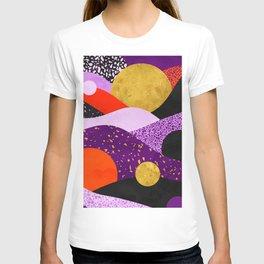 Terrazzo galaxy purple orange gold T-shirt
