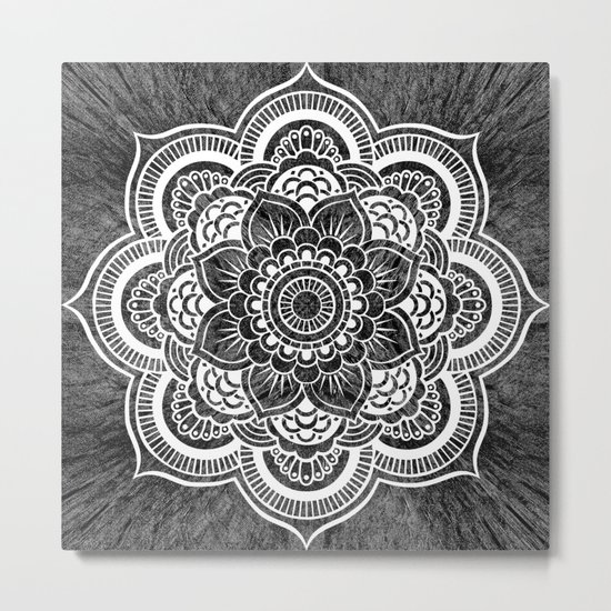 Mandala Slate Gray Colorburst Metal Print