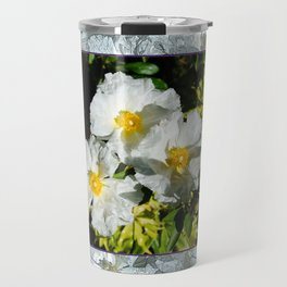 CISTUS LAURIFOLIUS  ROCK ROSE FLOWERS Travel Mug