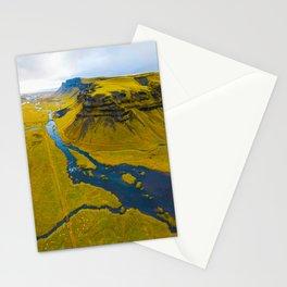 Scandinavian Grassland Landscape Dark Navy Rivers Aerial View photo Stationery Cards