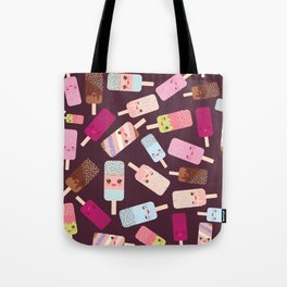 summer ice cream, ice lolly  Kawaii with pink cheeks and winking eyes Tote Bag