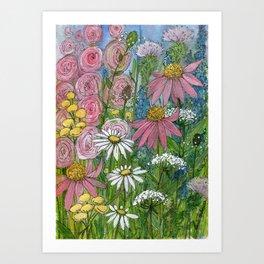 Floral Watercolor Garden Flowers Vibrant Colors Prints For Sale Art Print
