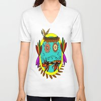 hippie V-neck T-shirts featuring Hippie Smilie by Wired Circuit