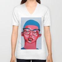 austin V-neck T-shirts featuring AUSTIN by Zelda Bomba