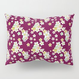 pastel floral pattern on burgundy background Pillow Sham