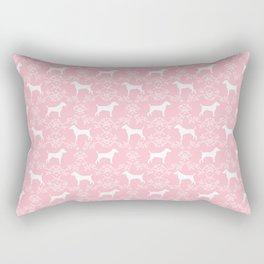 Jack Russell Terrier floral silhouette dog breed pet pattern silhouettes dog gifts pink Rectangular Pillow