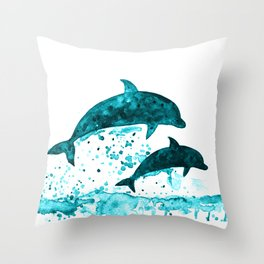 Dolphins, navy blue Throw Pillow