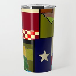 A Texas Quilt, State Flag and Blue Bonnets Travel Mug