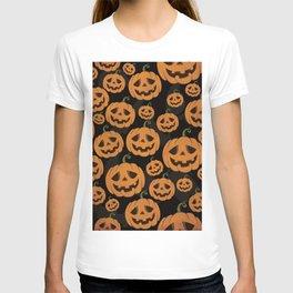 Jack O Lantern Halloween Pattern on Black T-shirt