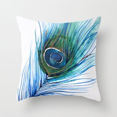Peacock Feather IV Throw Pillow