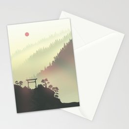 Red sunset in the Japan mountains Stationery Cards