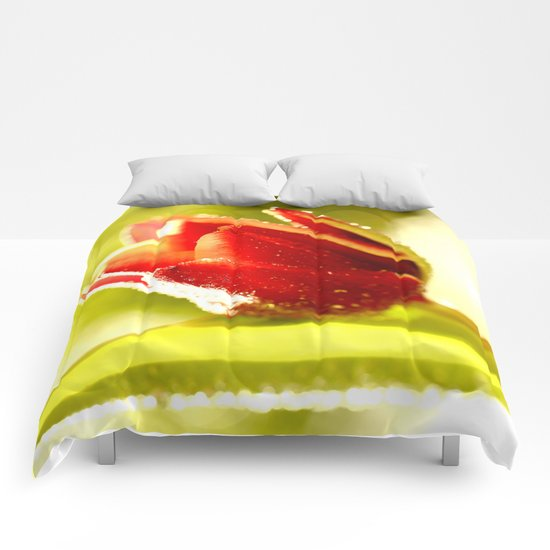 Glowing Red Tulip  Comforters
