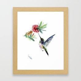 Hummingbird. elegant bird and flowers, minimalist bird art beautiful bird painting Framed Art Print