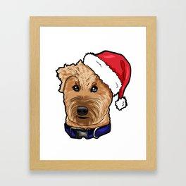 Irish Soft Coated Wheaten Terrier Dog Christmas Hat Framed Art Print