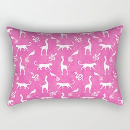 Animal kingdom. White silhouettes of wild animals. African giraffes, leopards, cheetahs. snakes, exotic tropical birds. Tribal primitive ethnic nature pink grunge distressed pattern. Rectangular Pillow