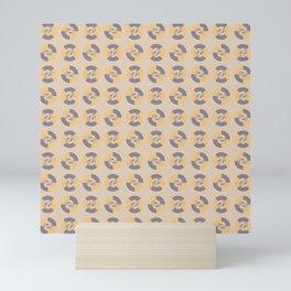 Simple geometric discs pattern yellow and taupe Mini Art Print