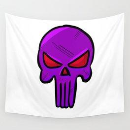 Skull Face - Purple War Wall Tapestry