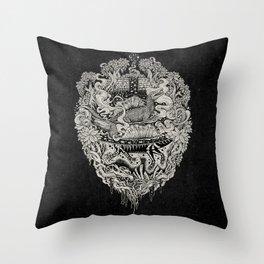 Sunken Temple of the Spinosaurus || Monochrome || Dinosaur Science Fiction Art Throw Pillow