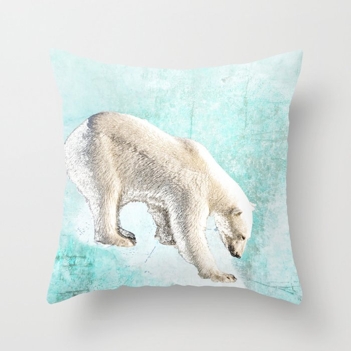 Polar Bear Throw Pillow : Polar bear on thin ice Throw Pillow by anipani Society6