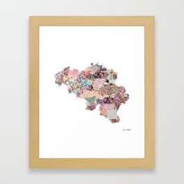 Belgium map Framed Art Print