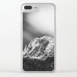 Misty clouds over the mountains in black and white Clear iPhone Case
