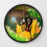 kitsune Wall Clocks featuring Kitsune by Sian Larkin Creations
