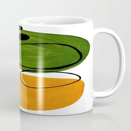 Modern Mid Century Fun Colorful Abstract Minimalist Painting Olive Green Yellow Ochre Buns Coffee Mug