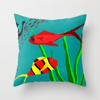 scuba Throw Pillows featuring Scuba Diver by Happy Fish Gallery
