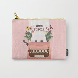 Grow Forth With Vintage Pink Typewriter Carry-All Pouch