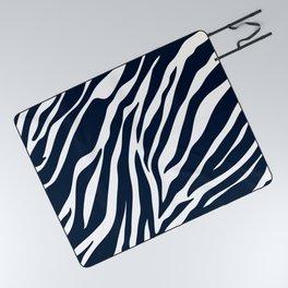 Navy blue zebra print Picnic Blanket