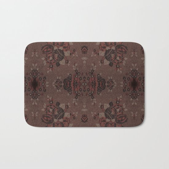 Abstract brown flowers with gold Bath Mat