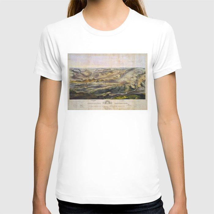 Vintage Map of The Gettysburg Battlefield (1863) T-shirt