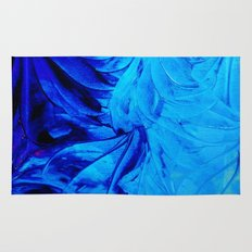 PETAL PINWHEELS - Deep Indigo Blue Royal Blue Turquoise Floral Pattern Swirls Ocean Water Flowers Rug