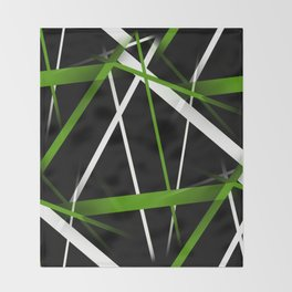 Seamless Grass Green and White Stripes on A Black Background Throw Blanket