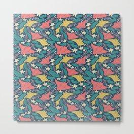 Manta Ray And Fish Pattern Metal Print