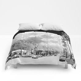 California Dream // Moon Black and White Palm Tree Fantasy Art Print Comforters