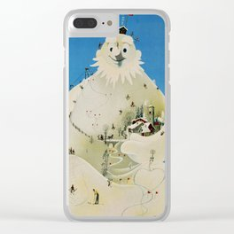 Vintage Adelboden Switzerland Travel Poster - Snowman Clear iPhone Case