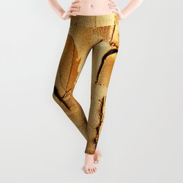 Gold Acryl Thick Metal Stripes Leggings