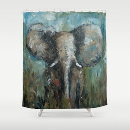 The Elephant | Oil Painting Shower Curtain